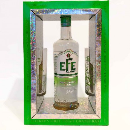 Efe Rakı Fresh Grapes ~ Geschenkbox (1 x 0.7 l, 2 x Rakı Glas)